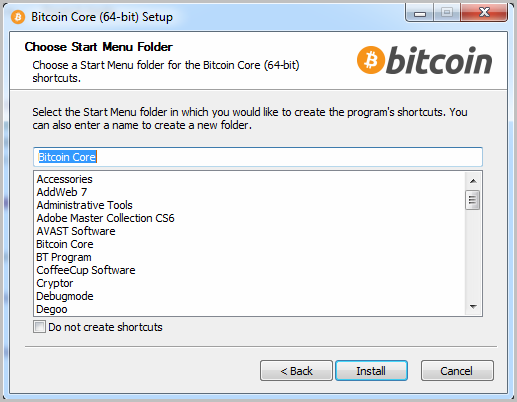 Bitcoin start installation 3