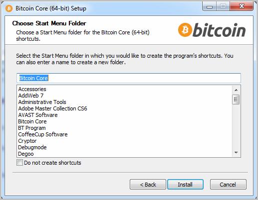 Bitcoin start installation 3