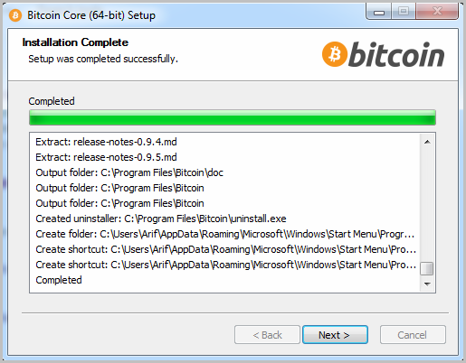 Bitcoin start installation 4