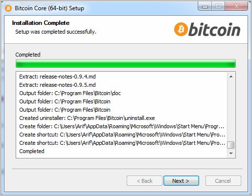Bitcoin start installation 4