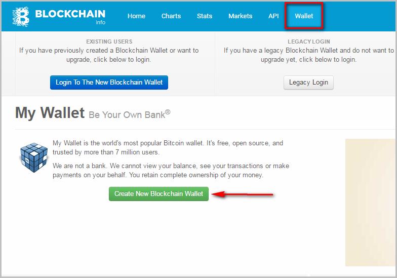 create new blockchain wallet