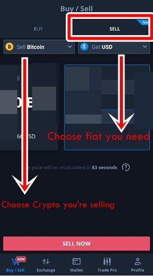 Sell BTC online step 2
